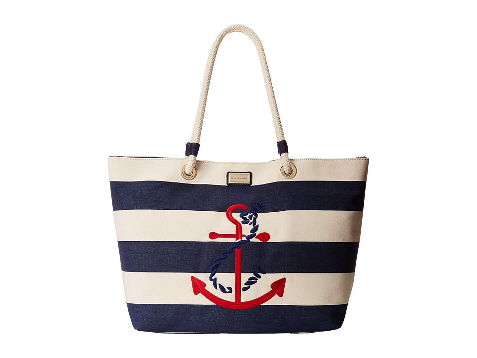 Tommy Hilfiger - Canvas Stripe Tied Anchor Rope Tote (Natural/Navy) Tote Handbags