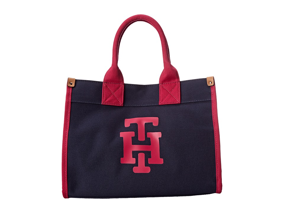 Tommy Hilfiger - Canvas TH Print Medium Tote (Navy/Raspberry) Tote Handbags