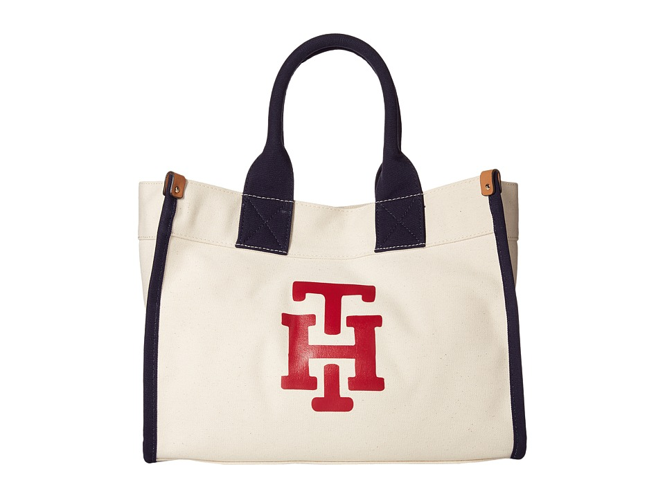 Tommy Hilfiger - Canvas TH Print Medium Tote (Natural/Red) Tote Handbags