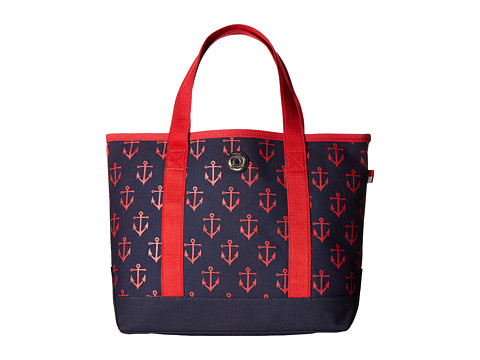 Tommy Hilfiger - Canvas All Anchor Small Tote (Navy/Red) Tote Handbags
