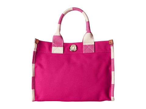 Tommy Hilfiger - Canvas/Rugby Medium Tote (Raspberry/Natural) Tote Handbags