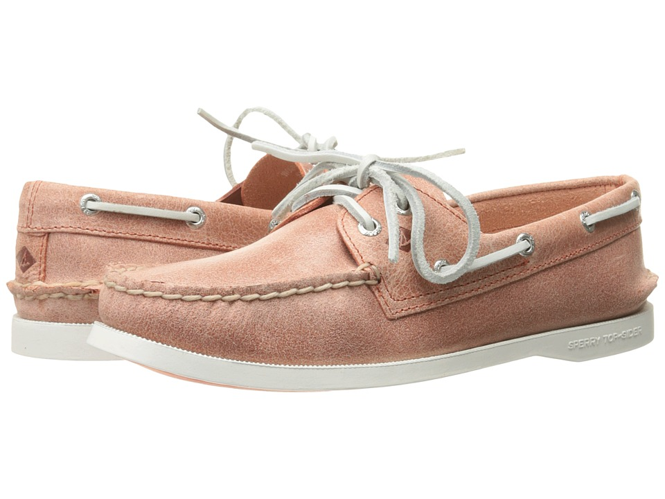 Sperry - A/O 2 Eye White Cap (Coral) Women's Lace up casual Shoes