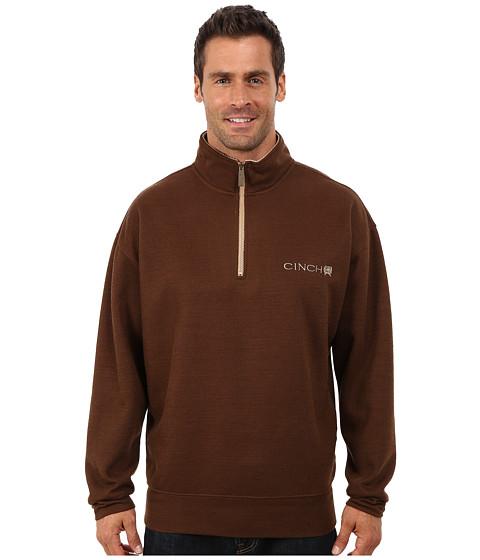 Cinch - 1/4 Zip Ribbed Pullover (Brown) Men