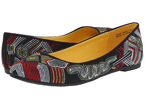 CL By Laundry - Greetings (Black Multi Tribal) Women's Flat Shoes