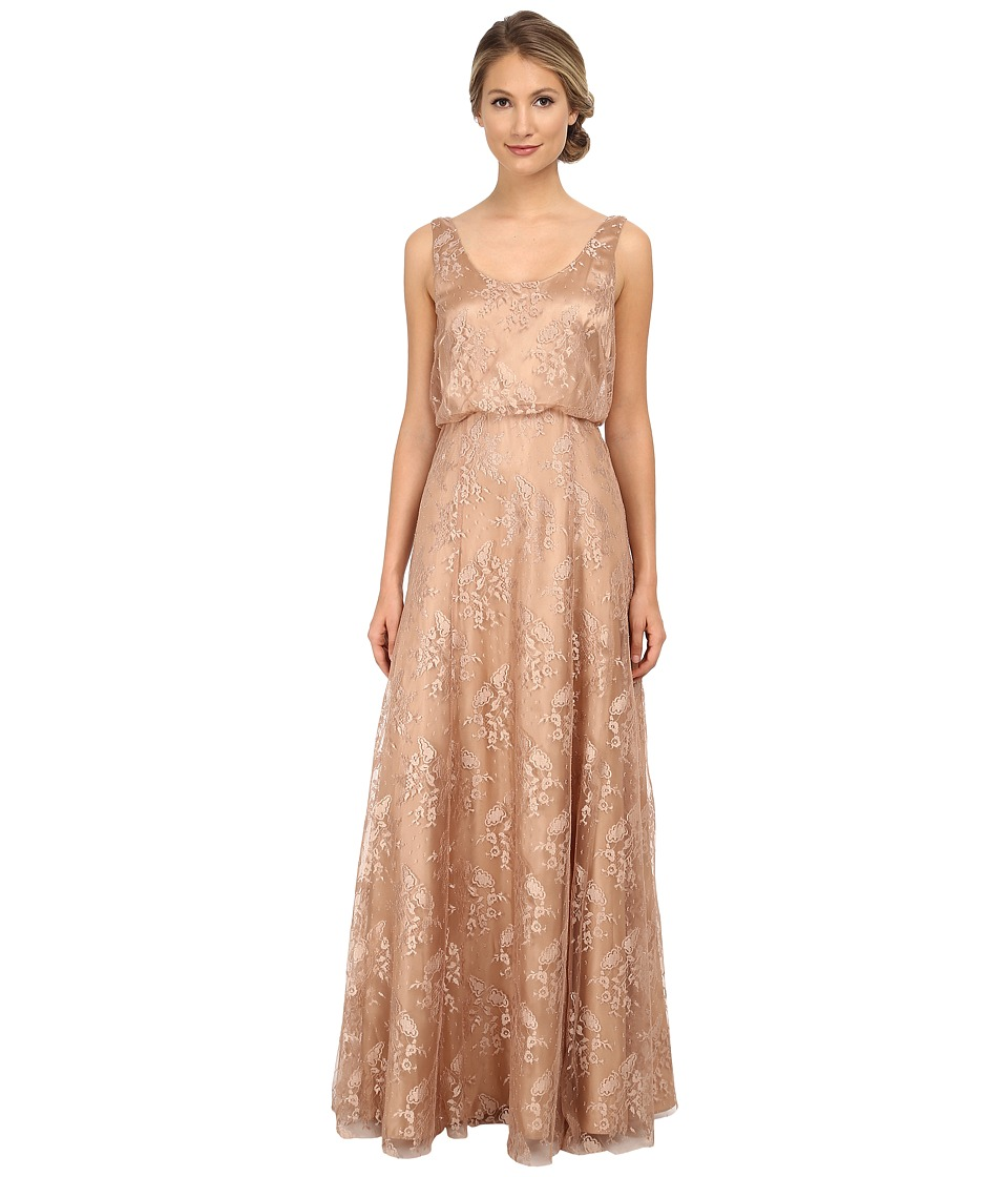 Donna Morgan Lace Blouson Gown Oyster Dress