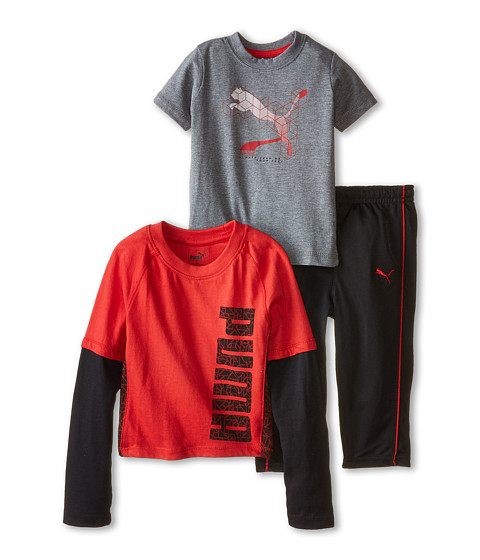 Puma Kids - 3-Pack Long Sleeve Twofer (Infant) (Star Red) Boy
