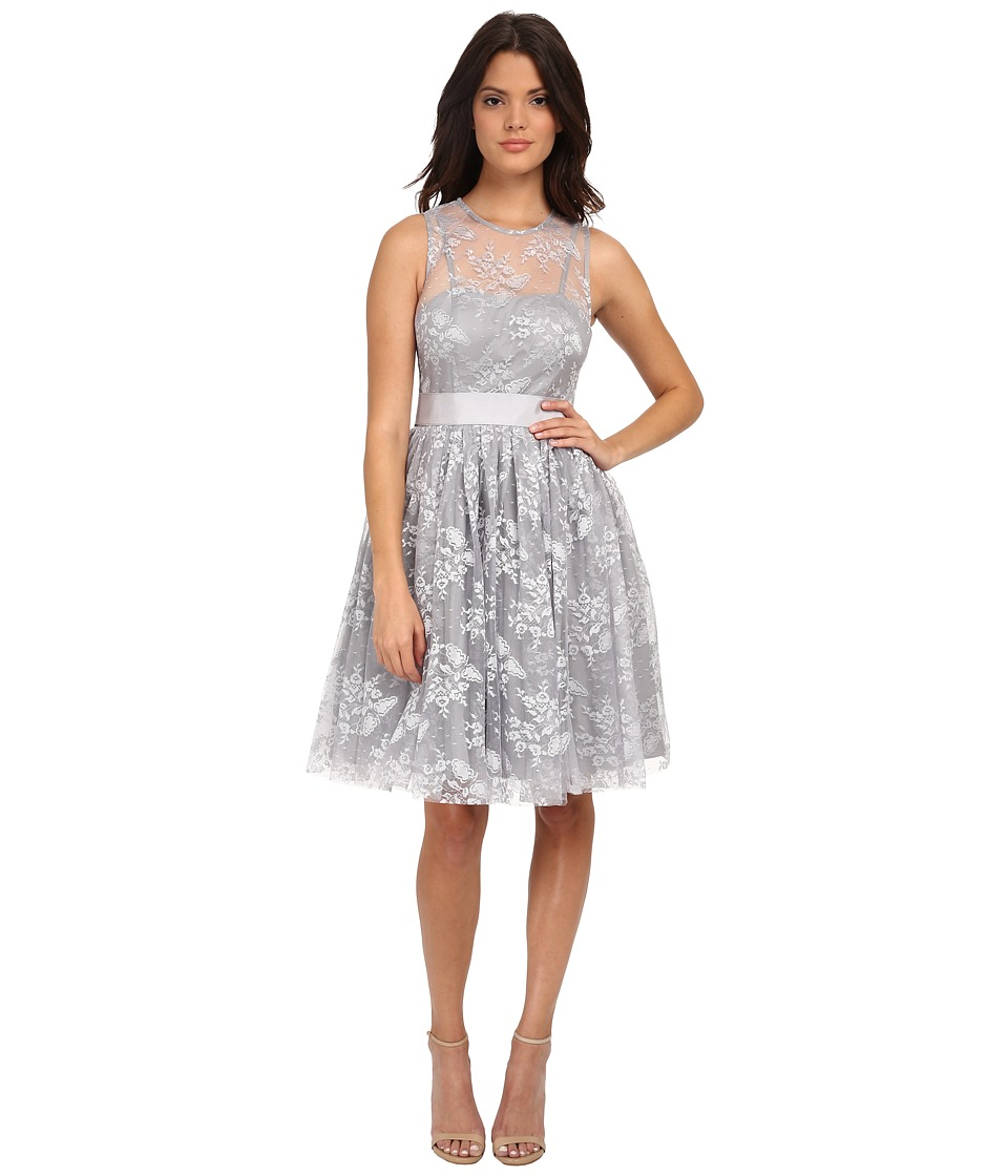 Donna Morgan - Short Cocktail with Illusion (Whisper) Women's Dress