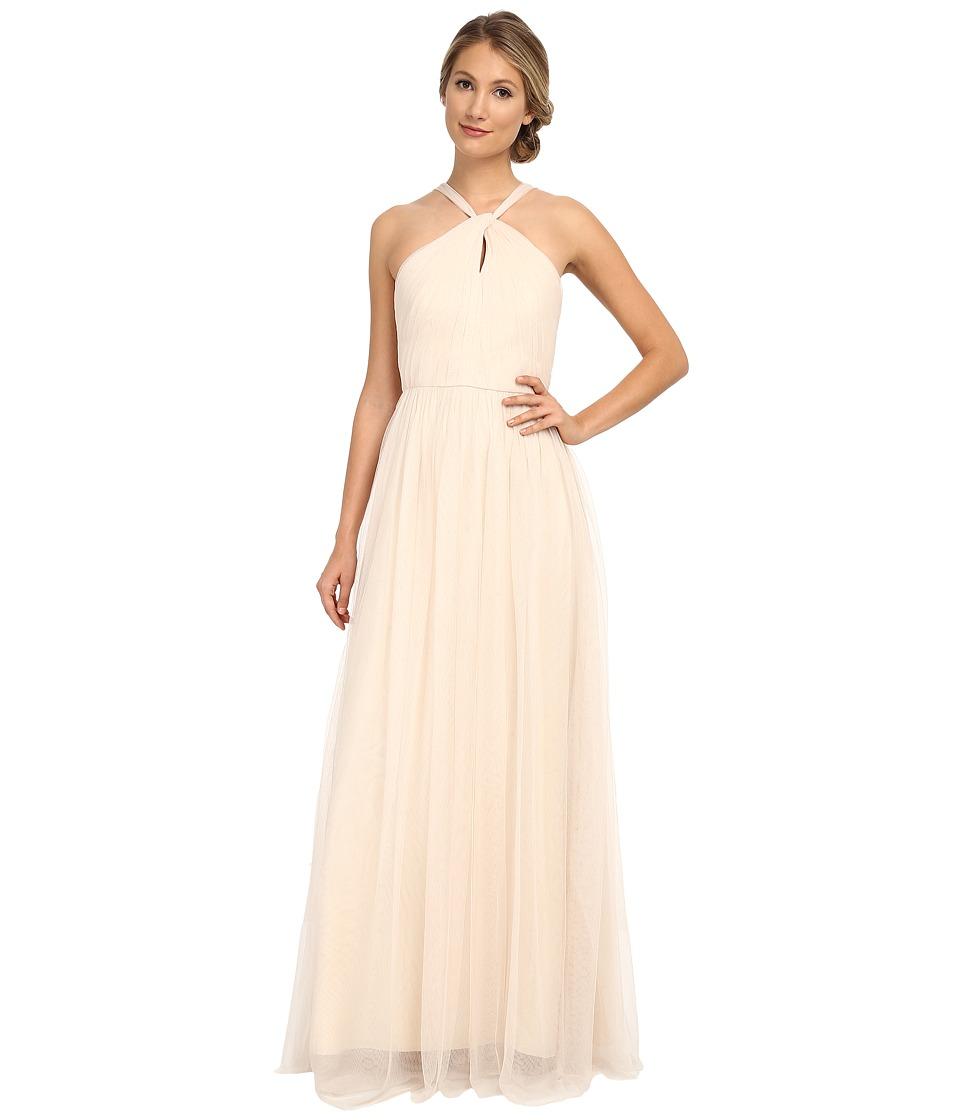 Donna Morgan Mesh Halter Gown Almond Dress