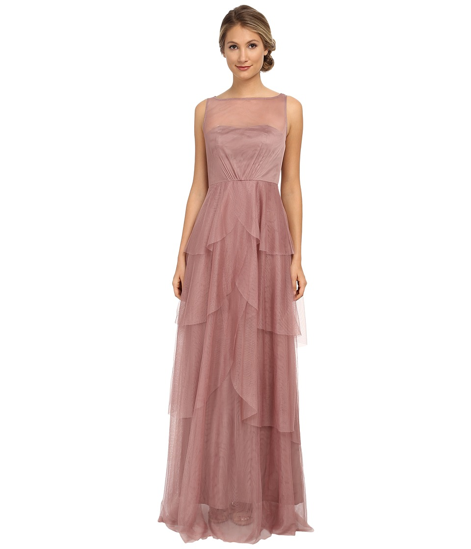 Donna Morgan - Mesh Gown with Illusion (Hibiscus Tea) Women's Dress