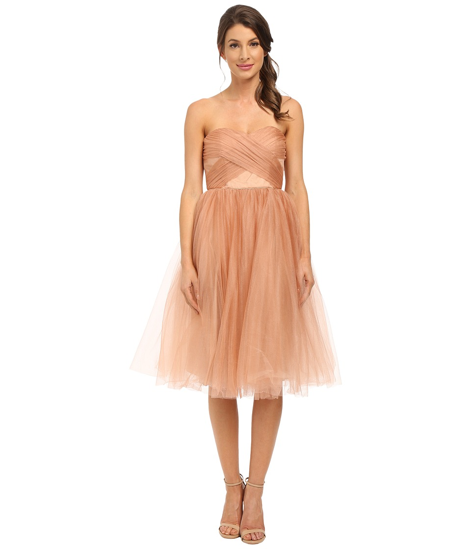 Donna Morgan Shimmer Tulle Short Cocktail Feather Dress