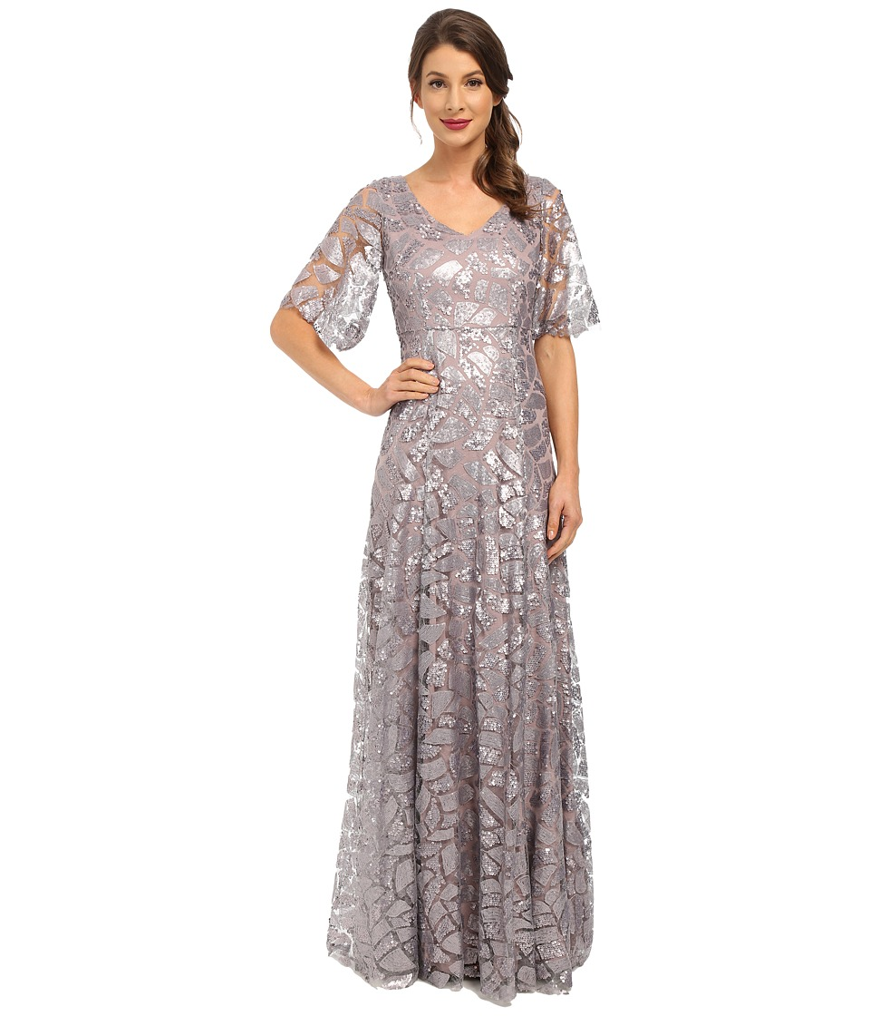 Donna Morgan - Sequin Gown with Sleeve (Grey Ridge) Women's Dress