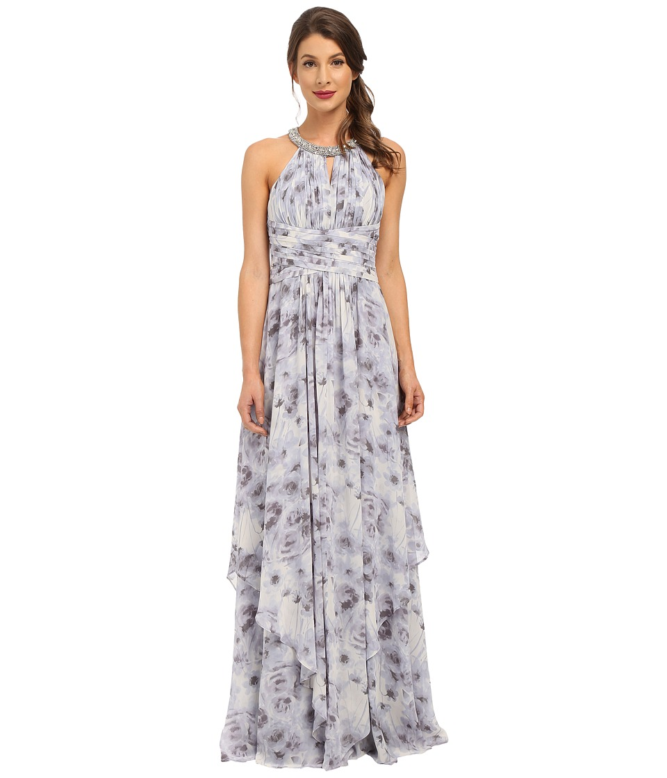 Donna Morgan - Beaded Neck Gown Printed (Lavender) Women's Dress