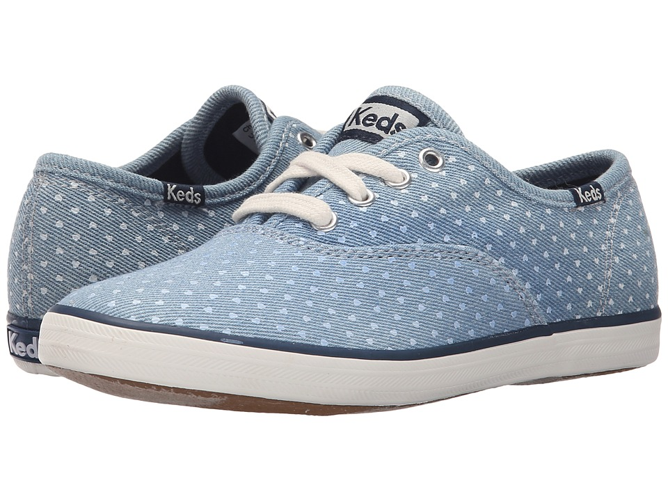 Keds Kids - Champion CVO Prints (Little Kid/Big Kid) (Chambray Heart Dot) Girl