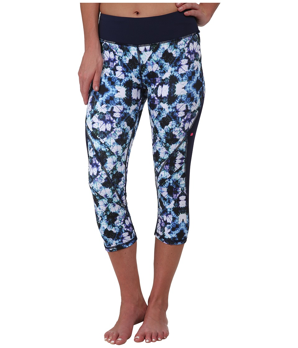 Pink Lotus - Kaleid Tie-Dye Patched Block Capris (Purple Multi) Women's Capri