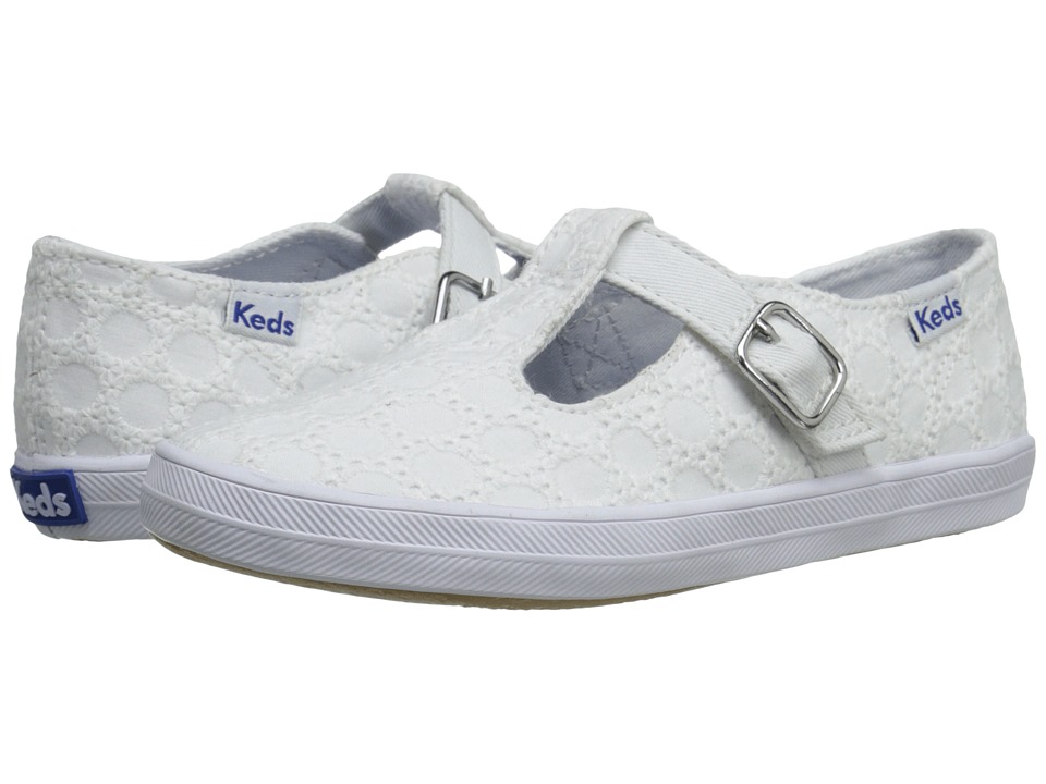 Keds Kids - T-Strappy (Toddler/Little Kid) (White Eyelet) Girl