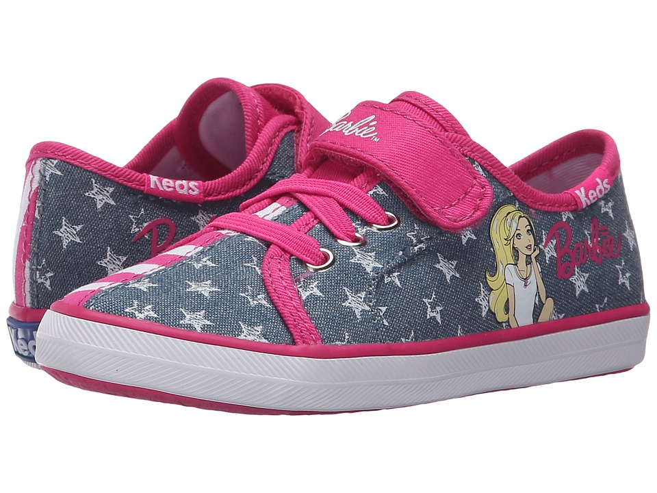 Keds Kids - Barbie AC Split (Toddler/Little Kid) (Denim/Pink Stripe Split) Girl