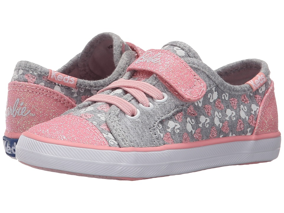 Keds Kids - Barbie AC (Toddler/Little Kid) (Grey/Pink) Girl's Shoes