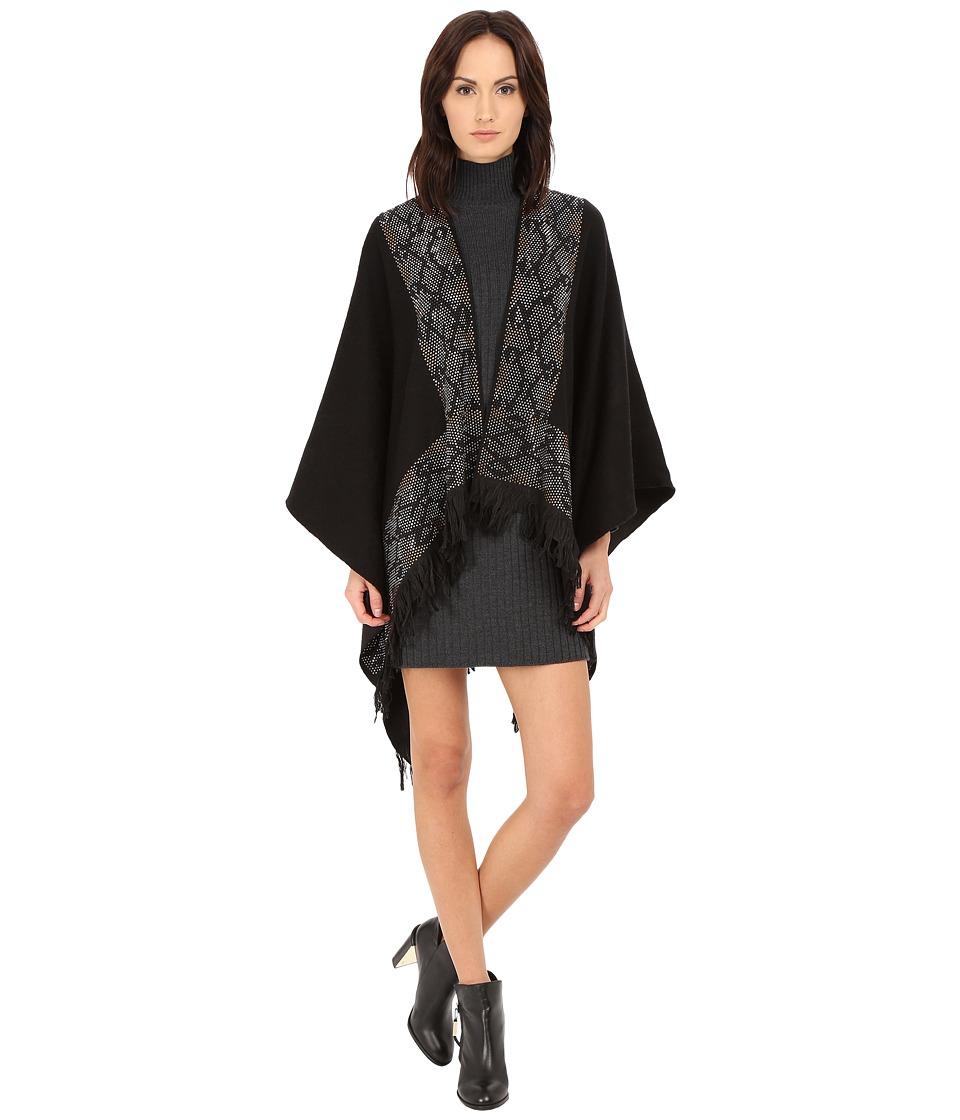 Roberto Cavalli - Woven Jacquard Poncho w/ Studs (Black) Women's Sweater