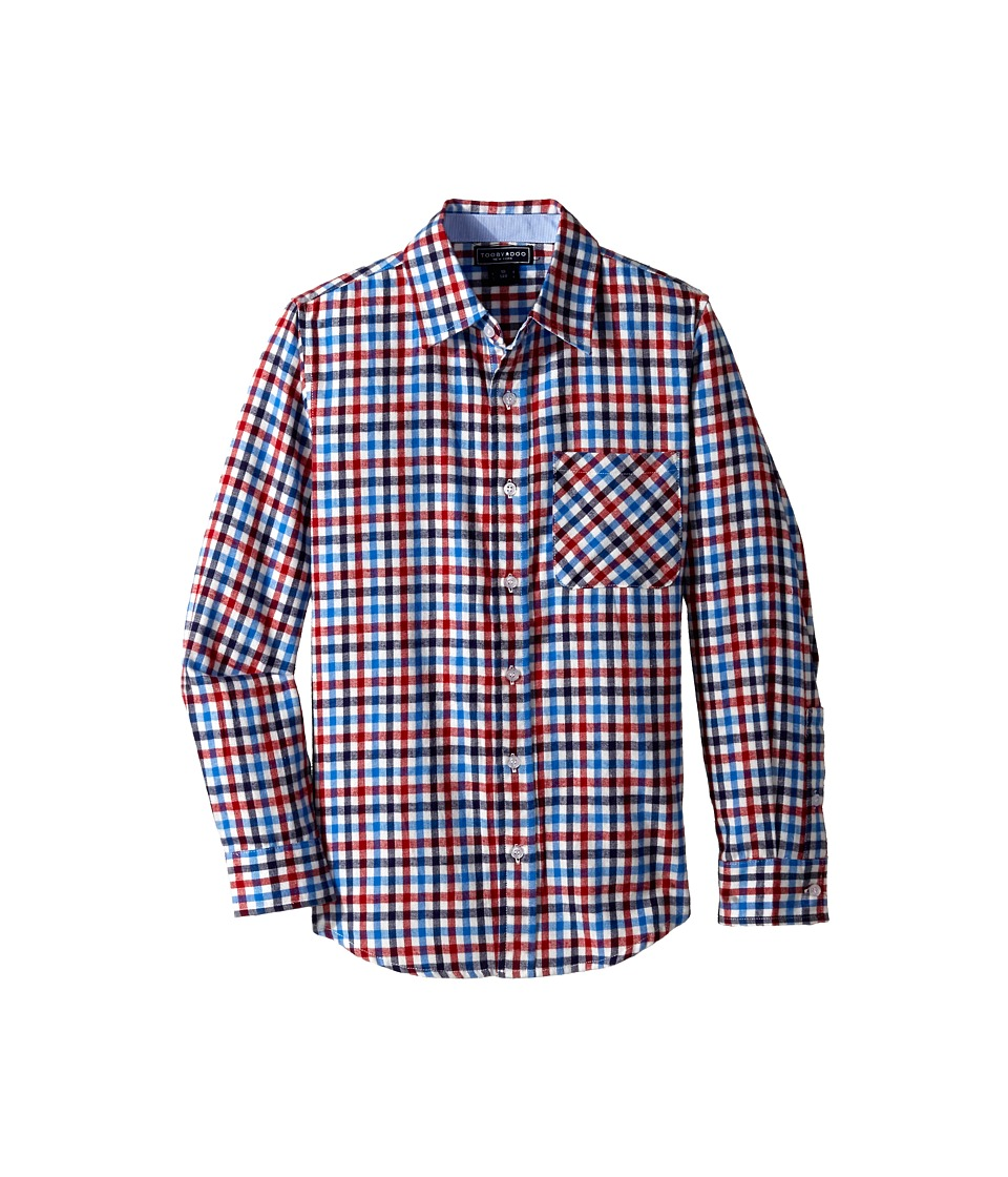 Toobydoo - Happy Checks Flannel Shirt (Infant/Toddler/Little Kids/Big Kids) (Red/White/Blue Checks) Boy's Long Sleeve Button Up
