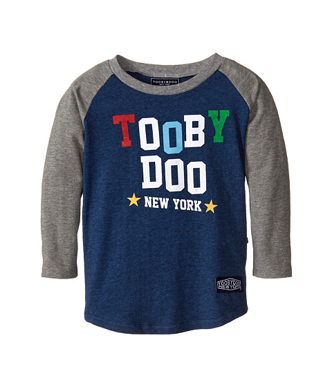 Toobydoo - Toy Baseball Tee (Toddler/Little Kids/Big Kids) (Navy/Grey) Boy's T Shirt
