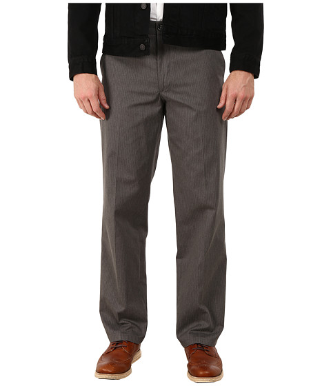 Dockers Men's - Signature Khaki Straight Flat Front (Ames A Pinstripe - Storm) Men's Casual Pants
