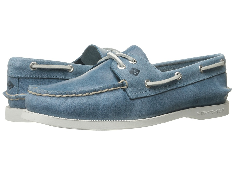 Sperry Top-Sider - A/O 2 Eye White Cap (Light Blue) Women's Lace up casual Shoes