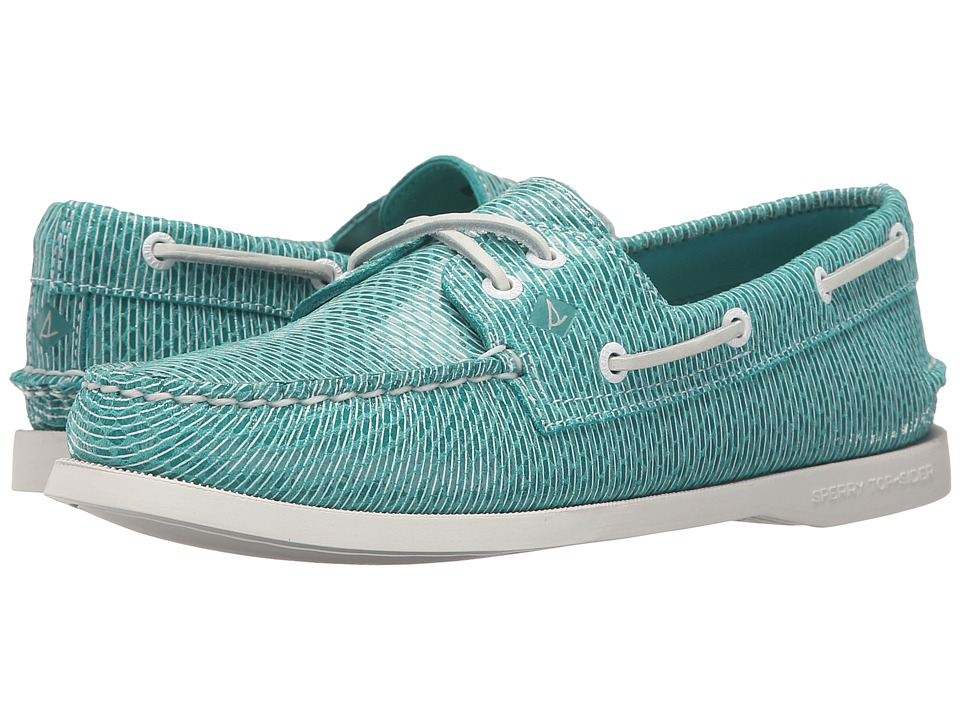 Sperry A/O 2 Eye Stripe Snake (Light Teal) Women