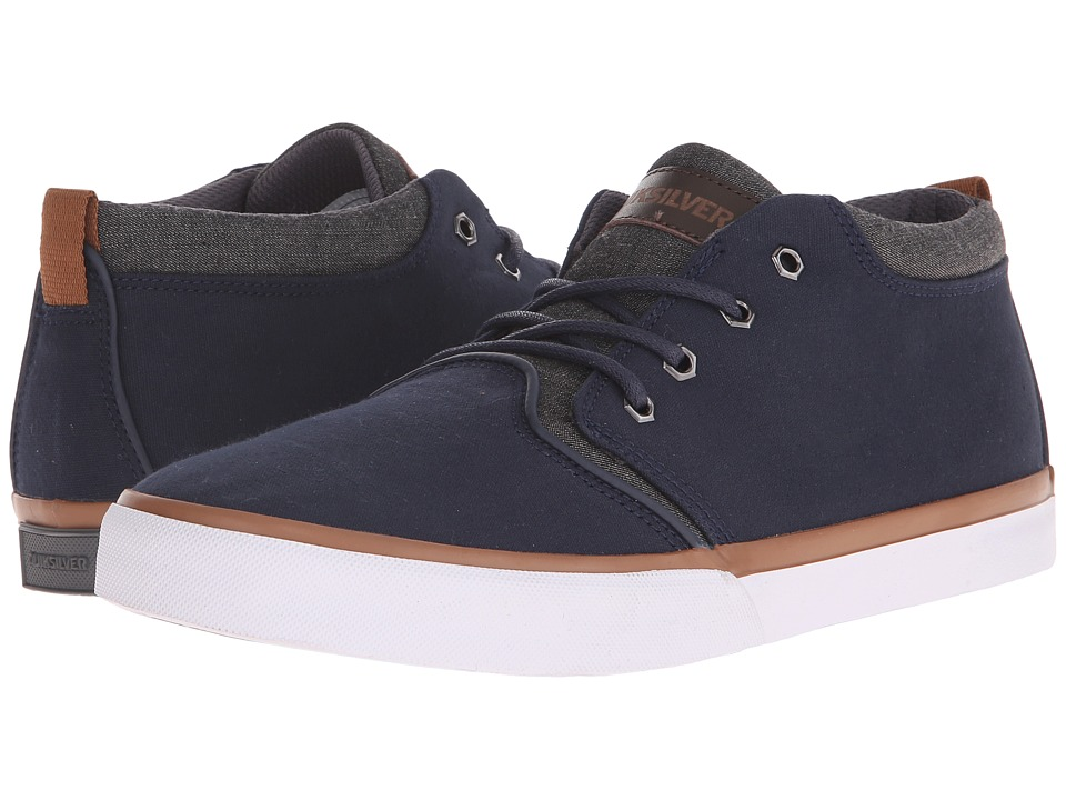 Quiksilver - Griffin Canvas (Blue/White/Brown) Men's Lace up casual Shoes