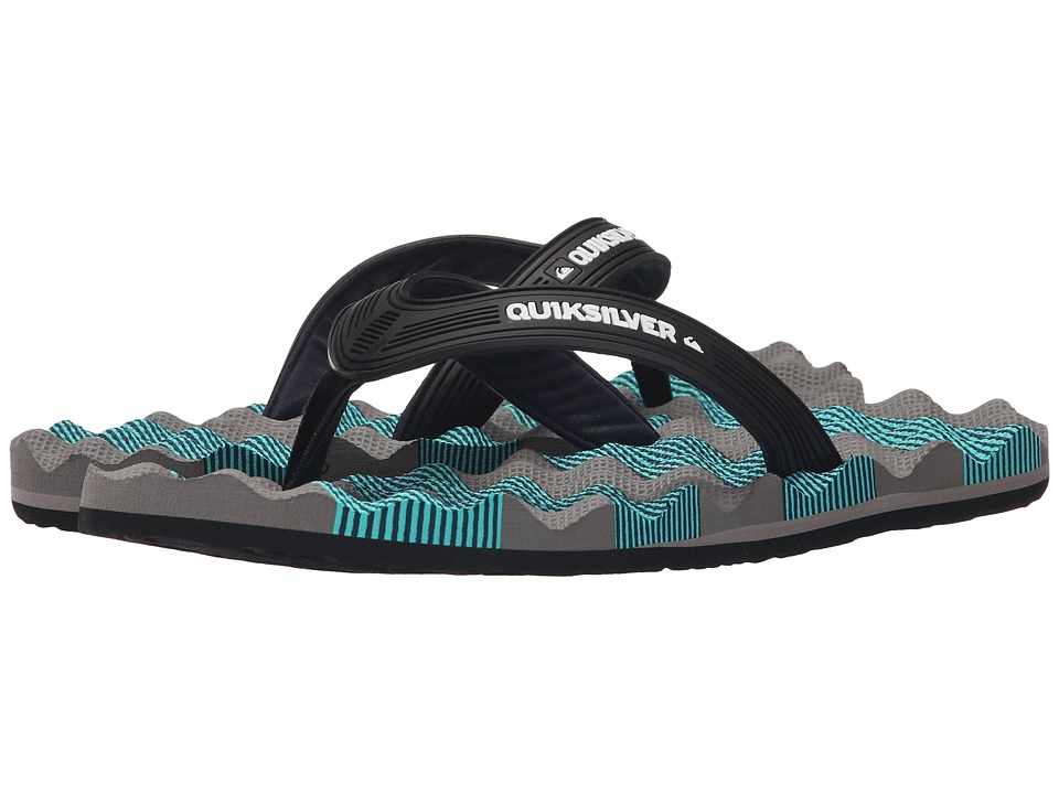 Quiksilver - Massage (Black/Grey/Blue) Men's Sandals