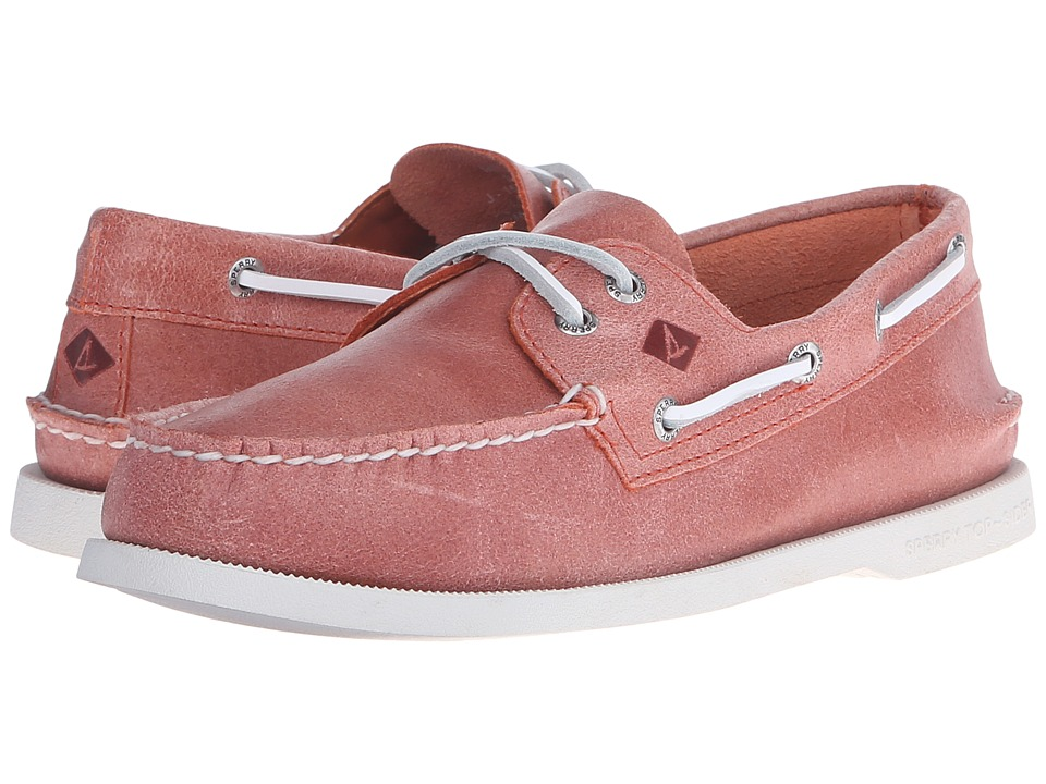 Sperry Top-Sider - A/O 2-Eye White Cap (Coral) Men's Lace up casual Shoes