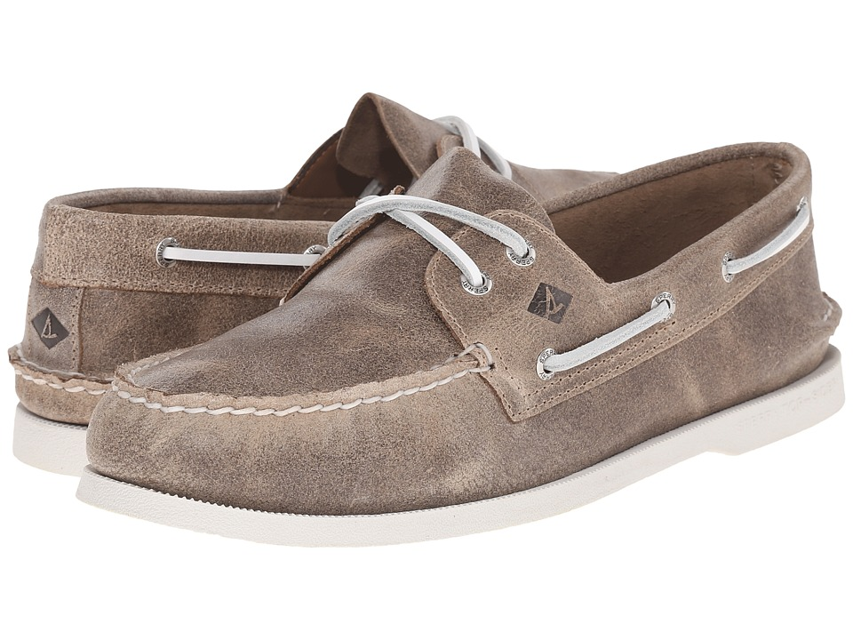 Sperry Top-Sider - A/O 2-Eye White Cap (Brown) Men's Lace up casual Shoes