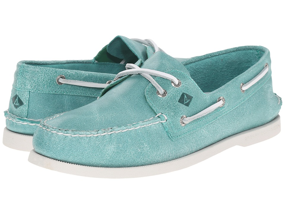 Sperry Top-Sider - A/O 2-Eye White Cap (Turquoise) Men's Lace up casual Shoes