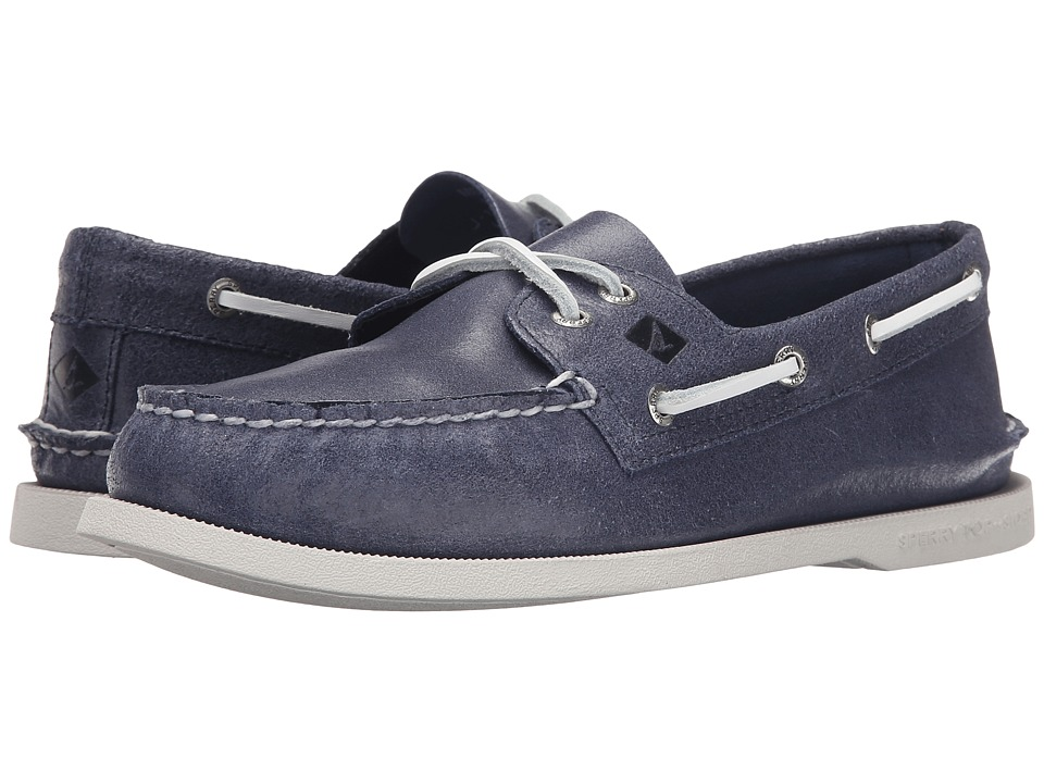 Sperry Top-Sider - A/O 2-Eye White Cap (Navy) Men's Lace up casual Shoes