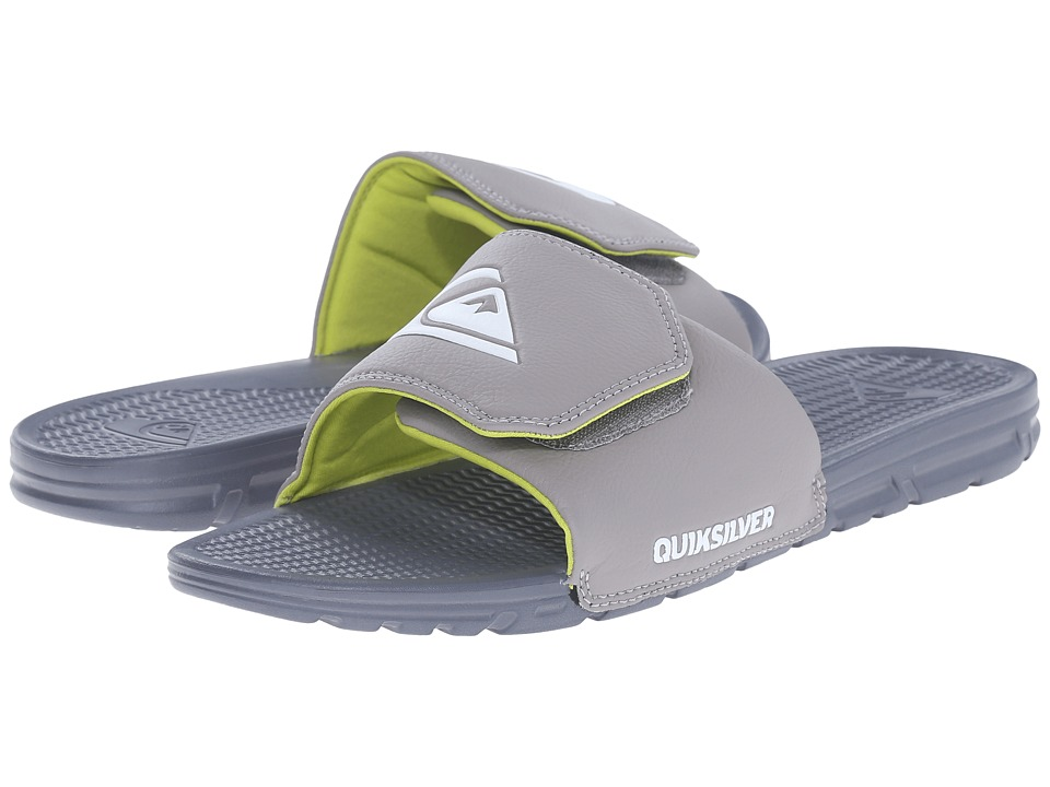 Quiksilver - Shoreline Adjust (Grey/Grey/Green) Men's Slide Shoes