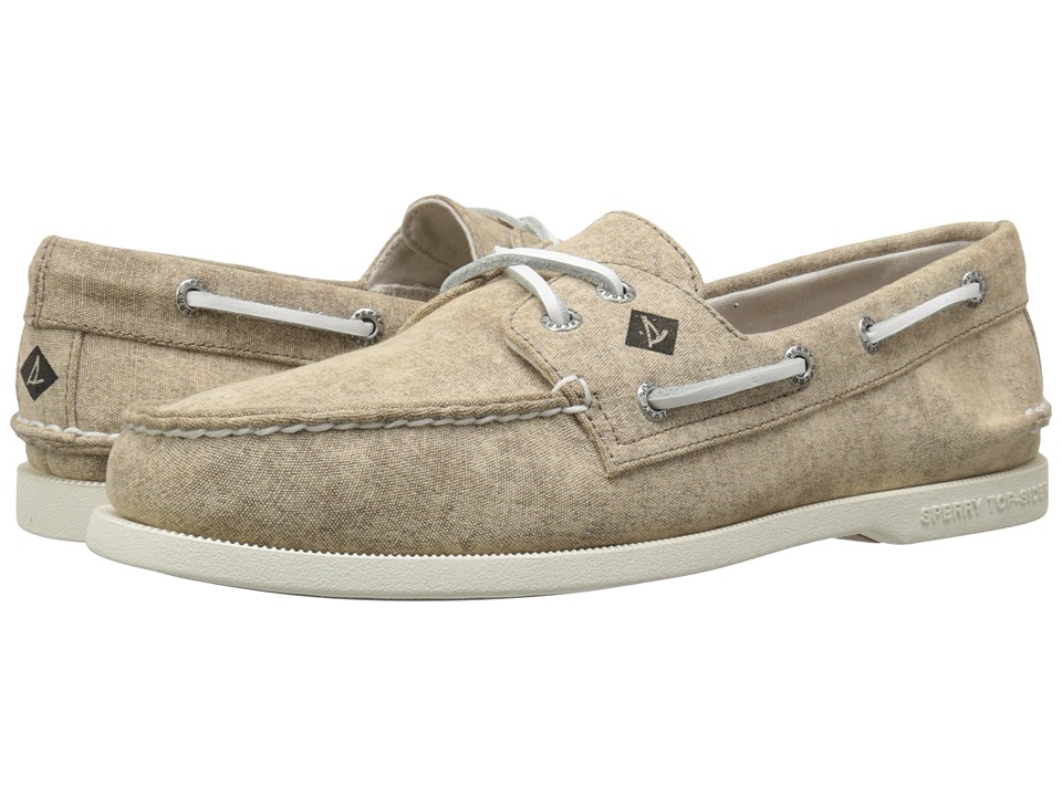 Sperry Top-Sider - A/O 2-Eye White Cap Canvas (Tan) Men's Lace up casual Shoes