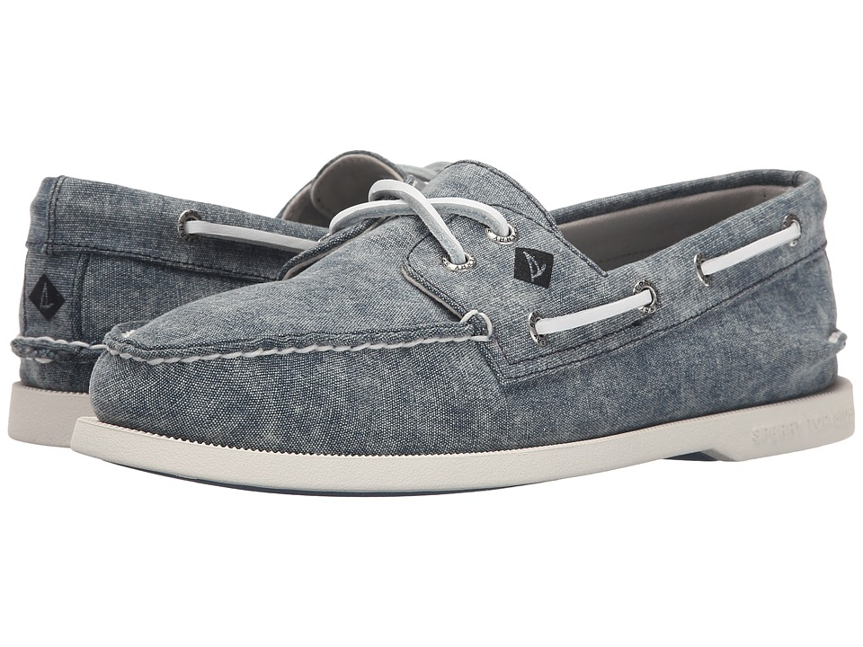 Sperry Top-Sider - A/O 2-Eye White Cap Canvas (Navy) Men's Lace up casual Shoes