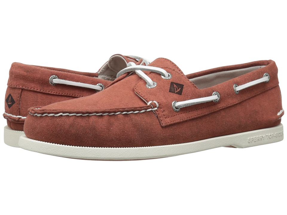 Sperry Top-Sider - A/O 2-Eye White Cap Canvas (Red) Men's Lace up casual Shoes
