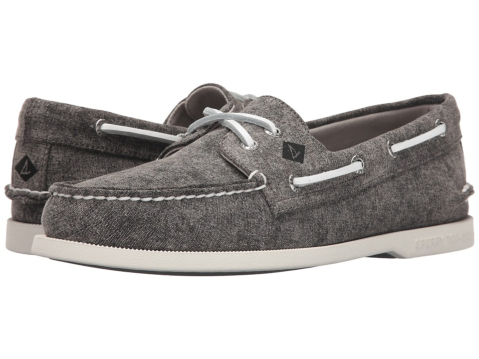 Sperry Top-Sider - A/O 2-Eye White Cap Canvas (Grey) Men's Lace up casual Shoes