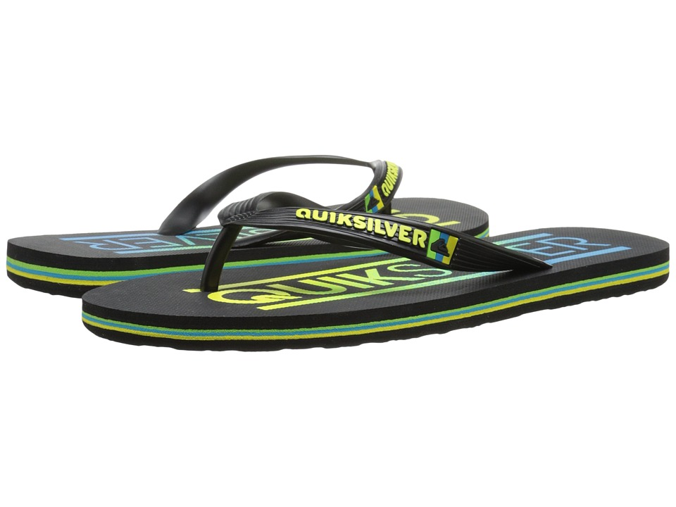 Quiksilver - Molokai Wordmark (Black/Black/Yellow) Men's Toe Open Shoes