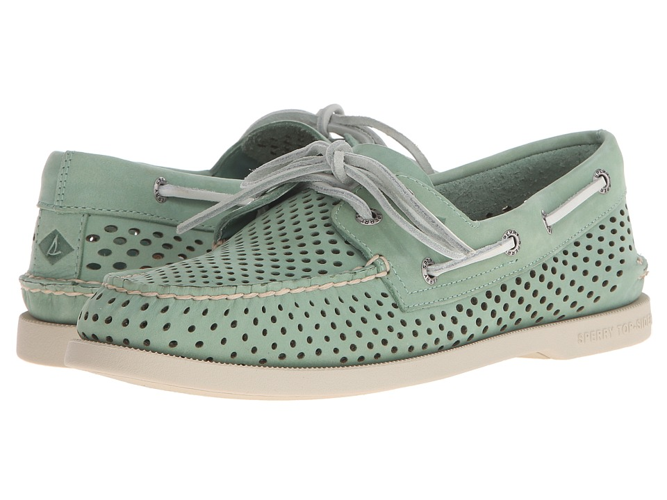 Sperry Top-Sider - A/O 2-Eye Laser Perf (Green) Men's Lace up casual Shoes