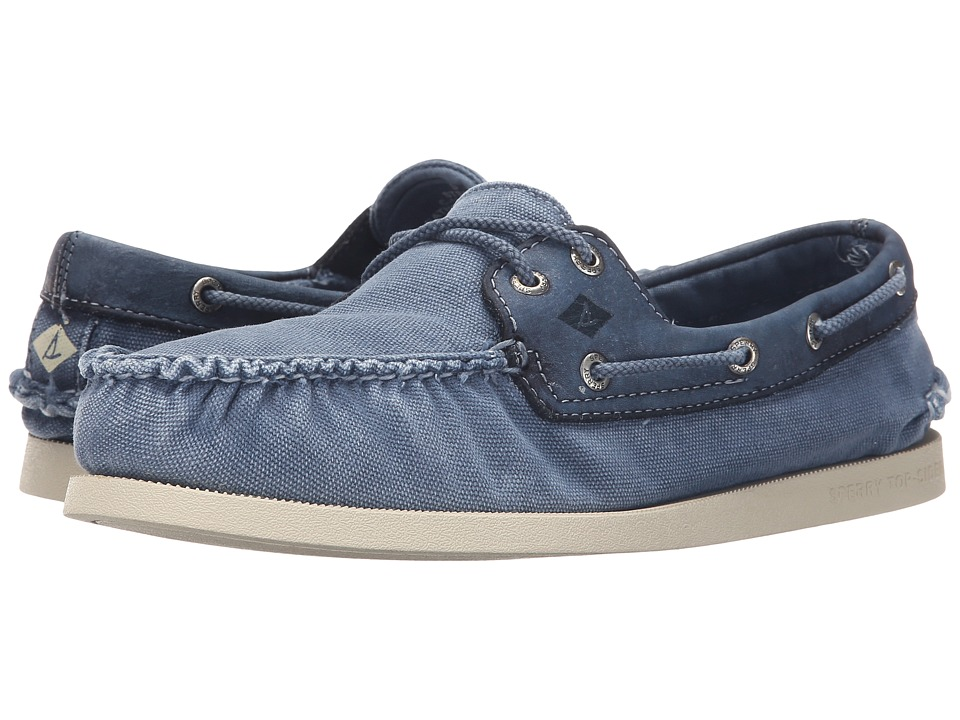 Sperry Top-Sider - A/O 2-Eye Wedge Canvas (Blue) Men's Lace up casual Shoes