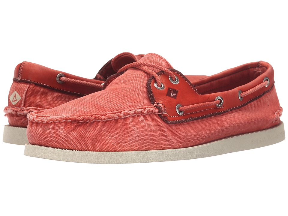 Sperry Top-Sider - A/O 2-Eye Wedge Canvas (Red) Men's Lace up casual Shoes