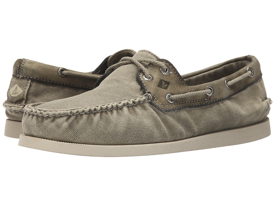 Sperry Top-Sider - A/O 2-Eye Wedge Canvas (Olive) Men's Lace up casual Shoes