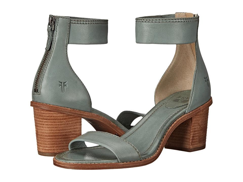 Frye Brielle Back Zip Sandal (Sage Soft Vintage Leather) High Heels
