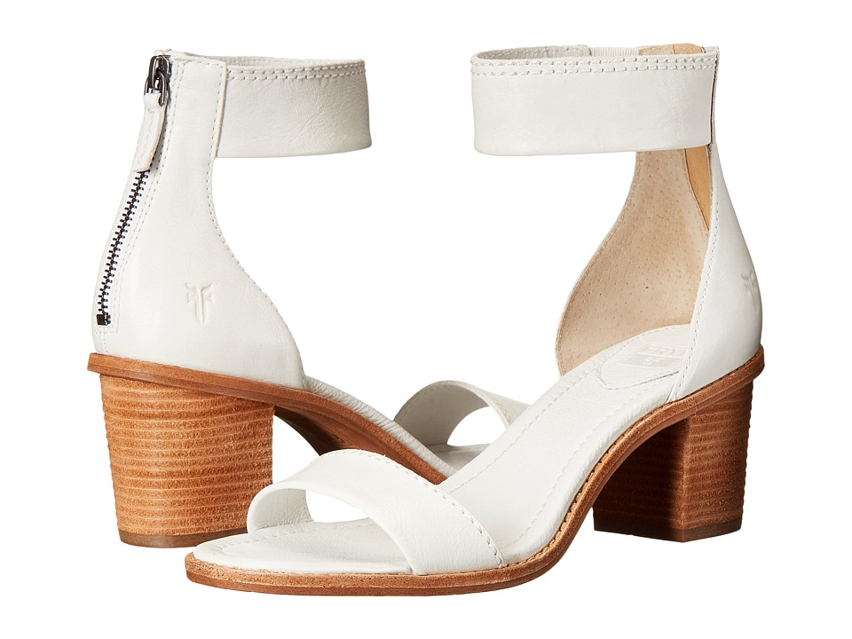 Frye Brielle Back Zip Sandal (White Soft Vintage Leather) High Heels