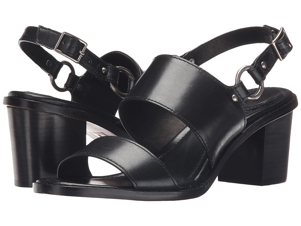 Frye Brielle Harness Sandal (Black Smooth Polished Veg) High Heels