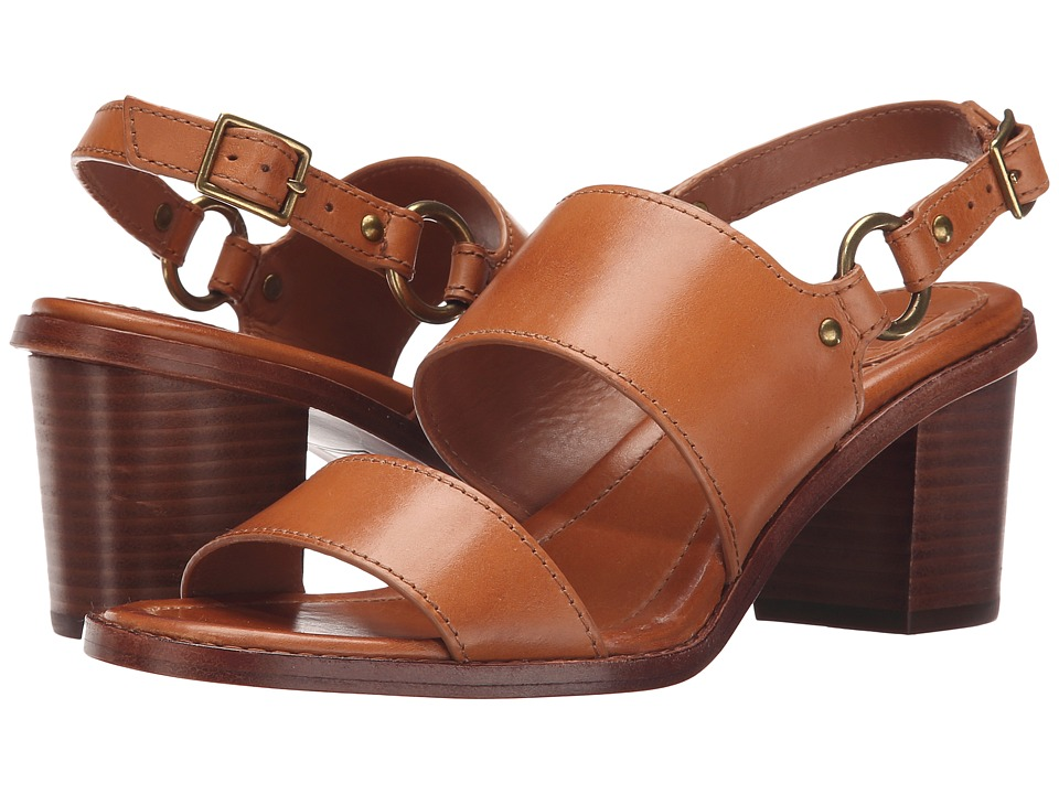 Frye Brielle Harness Sandal (Tan Smooth Polished Veg) High Heels