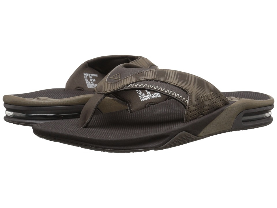 Reef - Fanning Prints (Brown Plaid 2) Men's Sandals