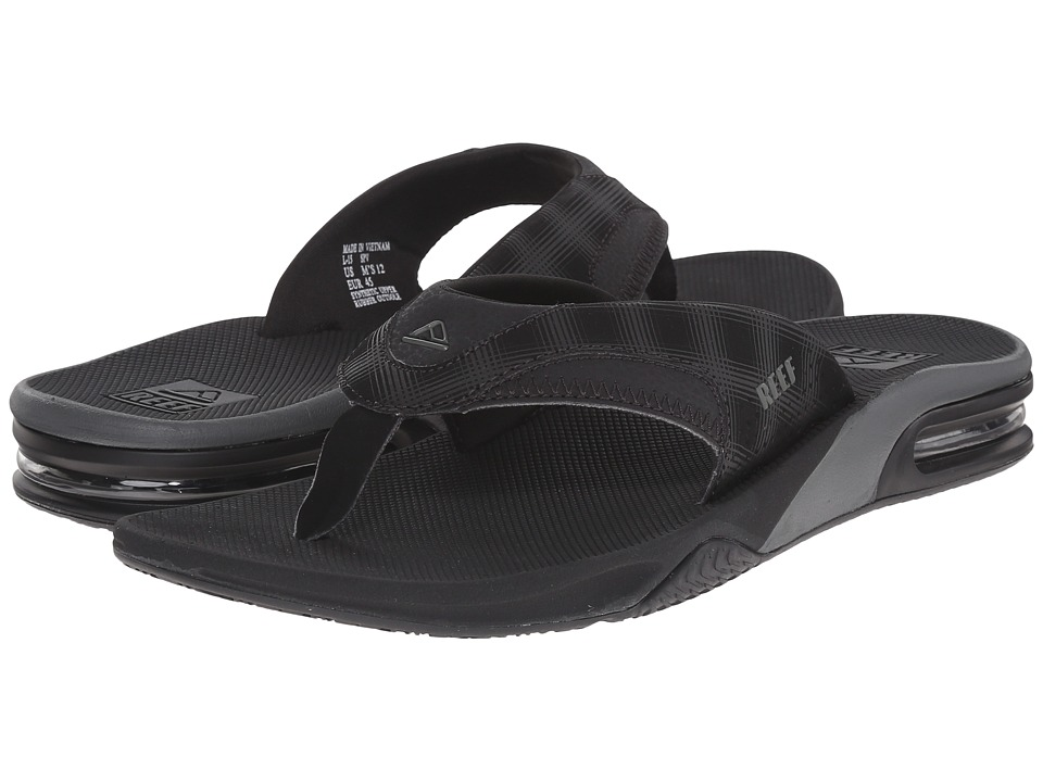 Reef - Fanning Prints (Black/Black Plaid 2) Men's Sandals