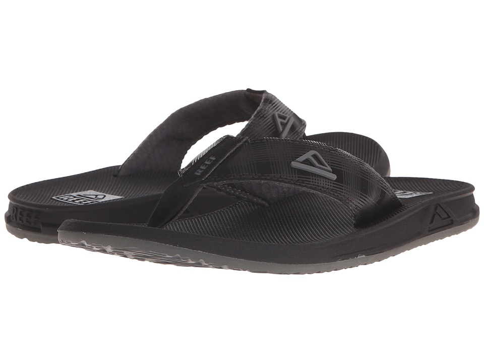 Reef - Phantom Prints (Black/Black Plaid) Men's Sandals
